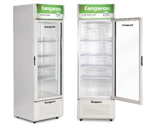 Tủ mát đứng Kangaroo 220L kháng khuẩn KG258AT (1 Cánh kính, Dàn nhôm, Lòng tủ phủ Nano bạc, Quạt đảo gió, Có đèn chiếu sáng)