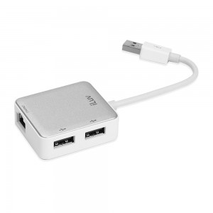 Hub iLuv iCB708WHT USB Ethernet Adapter with 2 USB Ports - White