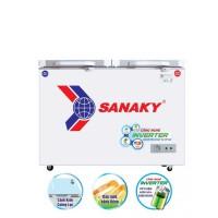 Tủ đông mát Sanaky 195L inverter VH-2599W4K(2 ngăn:1 đông 1 mát,2 cánh,Dàn đồng,cánh kính cường lực,màu xám)