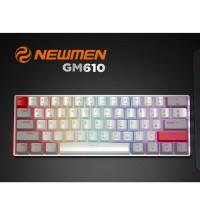 Bàn phím cơ không dây Gaming Newmen black Switch GM610 Led xuyên chữ - Bluetooth 5.0, màu đen