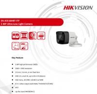 Camera HD-TVI thân trụ HikVision DS-2CE16H8T-ITF - 5MP; OSD; True WDR; chống ngược sáng; Ultra Low Light; hồng ngoại 20m